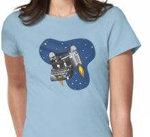 Outer space vintage typewriter jet pack rockets Womens Fitted T-Shirt