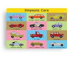 Simpsons Cars (Landscape) Canvas Print