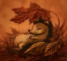 Hedgehog Sleeping Under Leaves by Katerina Romanova