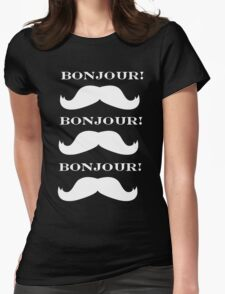 White Mustache Love Womens Fitted T-Shirt
