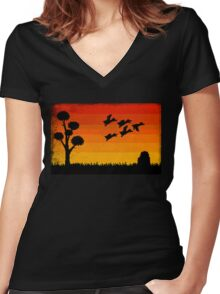 Duck Hunting Women's Fitted V-Neck T-Shirt