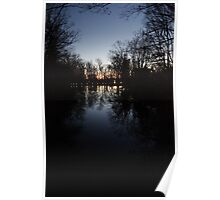 Tranquil Lake with Sunset Poster