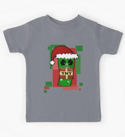 Minecraft Christmas Creeper  Kids Tee