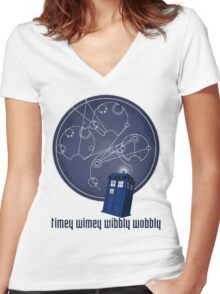 timey wimey wibbly wobbly Women's Fitted V-Neck T-Shirt