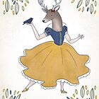 Snow White Tailed Deer by JessieSima