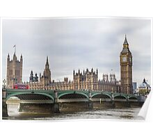London Big Ben and Parliament River Thames Poster