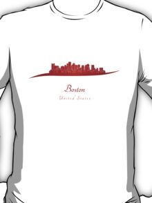 Boston skyline in red T-Shirt