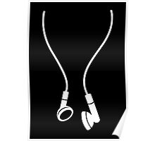 Old School Classic Earphones Headphones White Poster