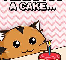 Fuzzballs I Made You A Cake Tiger by rabbitbunnies