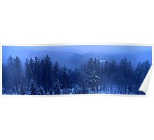 Blue Winter Landscape Poster
