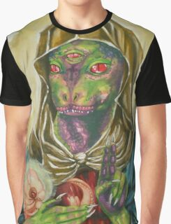 Blessed Reptilian Virgin and Child Graphic T-Shirt