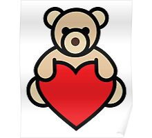Teddy bear holding red heart Poster