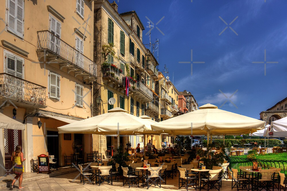Corfu Town Restaurant by Tom Gomez