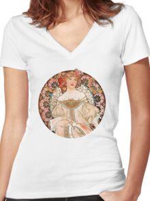 Alphonse Mucha: Art Nouveau Beauty Women's Fitted V-Neck T-Shirt