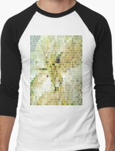 Pale Yellow Poinsettia 1 Mosaic Men's Baseball ¾ T-Shirt