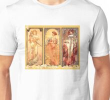 Alphonse Mucha: Art Nouveau Triptych Unisex T-Shirt
