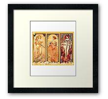 Alphonse Mucha: Art Nouveau Triptych Framed Print