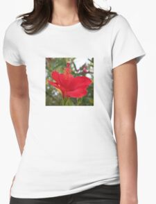 Soft Red Hibiscus With Natural Garden Background Womens Fitted T-Shirt