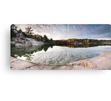 Autumn Nature Lake Rocks and Trees KIllarney Ontario Panorama art photo print Canvas Print
