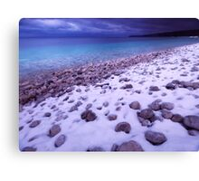 Wintertime landscape scenery of Georgian Bay shore line art photo print Canvas Print