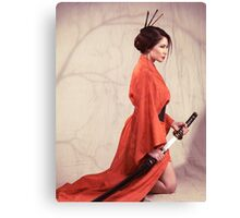 Beautiful asian woman warrior in red kimono with katana sword art photo print Canvas Print