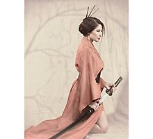 Asian woman in red kimono with a sword art photo print Photographic Print