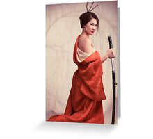 Beautiful asian woman unsheathing a sword art photo print Greeting Card
