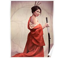 Beautiful asian woman unsheathing a sword art photo print Poster