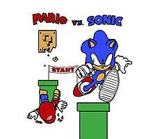 Mario vs. Sonic by Tirado