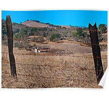 Old barn and barbed wire fence Poster