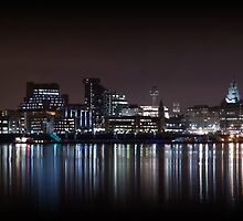 Liverpool Panoramic Skyline At Night by Paul Madden