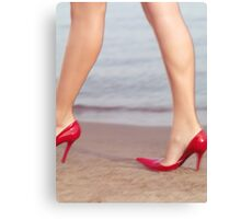 Woman walking in high heel shoes at the beach art photo print Canvas Print
