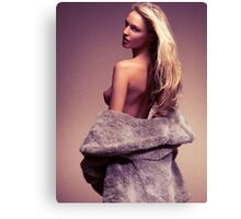 Beautiful sexy woman in fur coat over naked body art photo print Canvas Print
