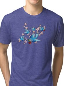 Blue Swallow Pattern Tri-blend T-Shirt