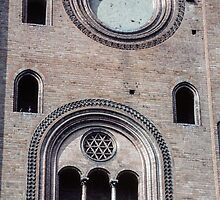 South transept side Duomo Cremona Italy 198404220042 by Fred Mitchell