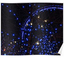 Blue lights of London Eye Poster