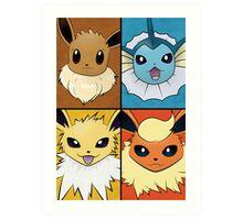 Pokemon Eeveelutions - Jolteon Flareon Vaporeon Eevee Art Print