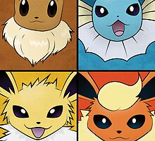 Pokemon Eeveelutions - Jolteon Flareon Vaporeon Eevee by Jorden Tually