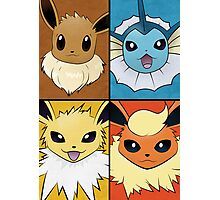 Pokemon Eeveelutions - Jolteon Flareon Vaporeon Eevee Photographic Print