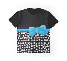 Ribbon, Bow, Dog Paws, Paw-prints - White Black Blue Graphic T-Shirt