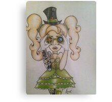 Steampunk Chick Metal Print