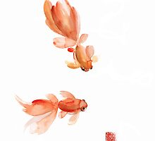 Pisces Zodiac Fishes Orange Red Pink Fish Water Goldfish Watercolor Painting by Johana Szmerdt