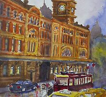Flinders Street, Melbourne 1 by Virginia  Coghill