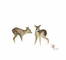 Deer Nature Brown Colors Earth Animal Animals Pet Pets Forest Wild Watercolor Painting by Johana Szmerdt