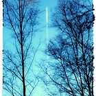 Distant Airplane in Blue Sky by Natalie Kinnear