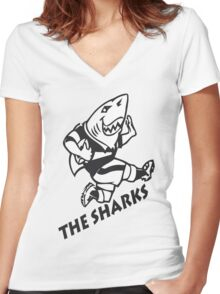 NATAL SHARKS FOR DARK SHIRTS SOUTH AFRICA RUGBY SUPER RUGBY Women's Fitted V-Neck T-Shirt