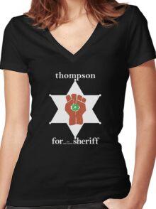 Hunter S Thompson, Gonzo Fist  Women's Fitted V-Neck T-Shirt