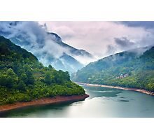 Lake in the mountains on a foggy day Photographic Print