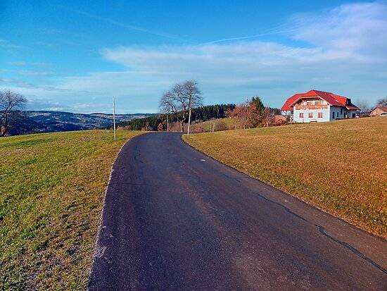 Country road, scenery and blues sky | landscape photography by Patrick Jobst