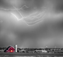 Lightning Storm And The Big Red Barn BWSC by Bo Insogna